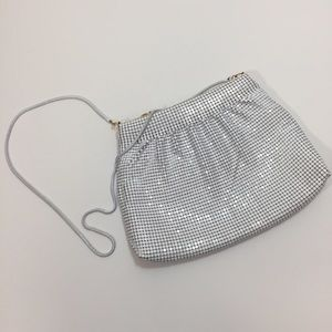 Vintage white metal mesh crossbody purse